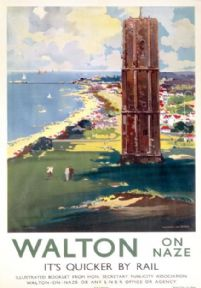 Walton on Naze, Naze Tower, Essex, England, Vintage travel poster railway print